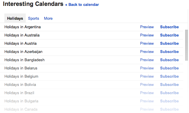 NewHolidayCalendars Google Calendar now displays holidays from 30 new countries, including Austria, Brazil, and Canada