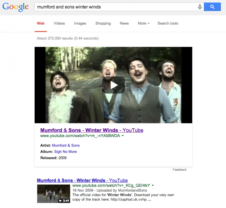 Screen Shot 2014 02 06 at 14.08.40 730x674 Google pushes YouTube music videos with Google Now style cards at the top of its search results