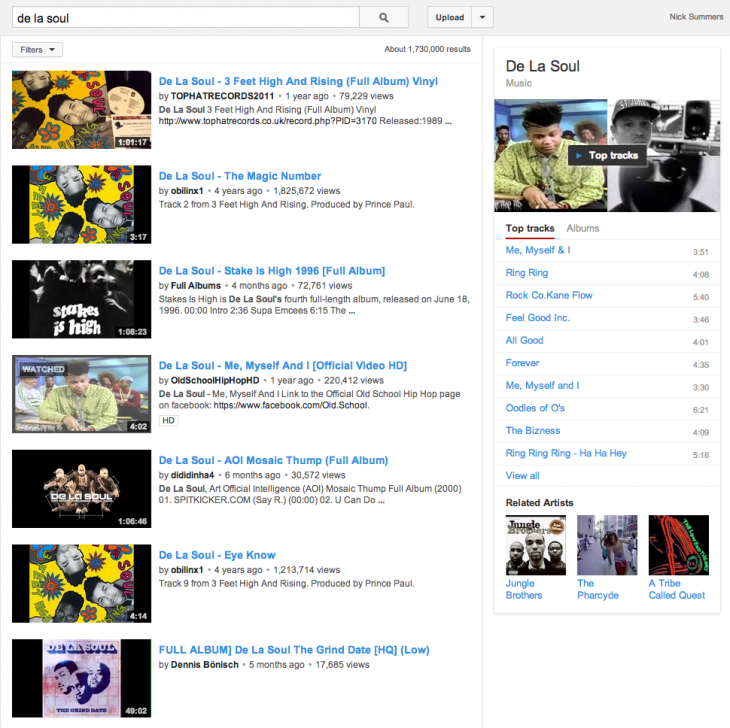 Screen Shot 2014 02 14 at 10.26.35 730x728 YouTube now promotes top tracks and playlists when you search for music