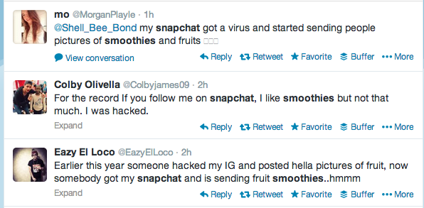 Screen shot 2014 02 12 at PM 02.22.01 A hack on Snapchat is sending photos of fruit smoothies to users (Updated)