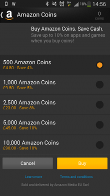 Screenshot 2014 02 19 14 56 26 220x391 Amazon takes its virtual Coins currency beyond the Kindle Fire and into the wider Android ecosystem