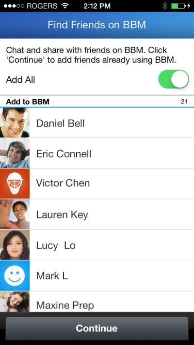 ios invite 01 BBM for Android and iOS gets Find Friends feature to help automatically add existing users, invite others