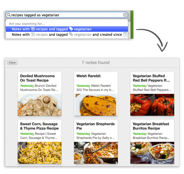 nlsmac recipes vegetarian results Evernotes new conversational search lets you use everyday language to find notes in its Mac app