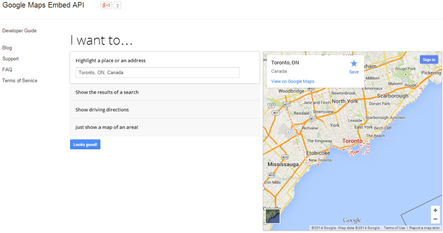 google maps embed api Google Maps Embed API lets developers generate HTML snippets for including maps in their own websites