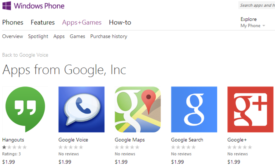 wp google 5 Microsoft pulls fake Google apps from the Windows Phone Store, but doesnt fix larger approval process problem