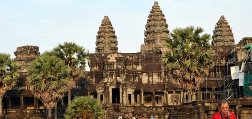 Tourists walk at Angkor Wat temple in Si