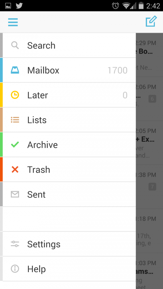 mailbox side navi 520x924 Hands on with Mailbox for Android: Auto swipe will auto organize your life
