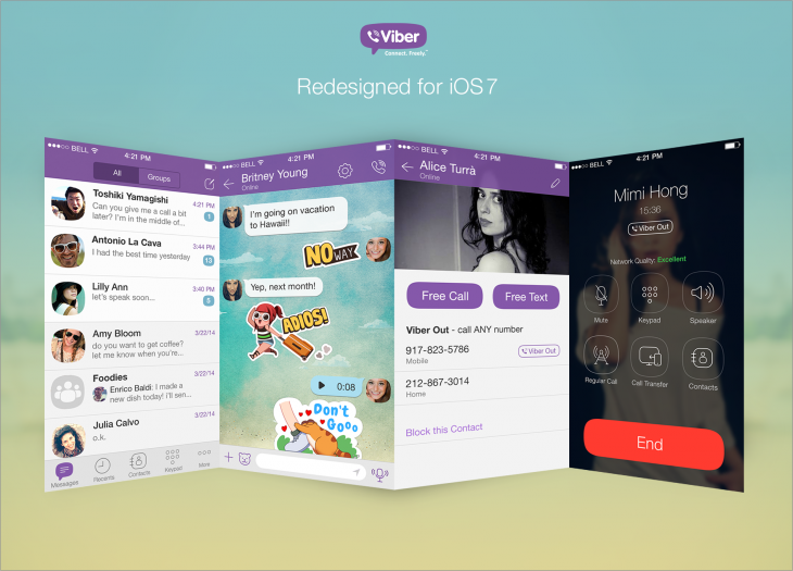 viber 730x525 Viber for iOS gets a new flat design, multiple image sending and longer video messages