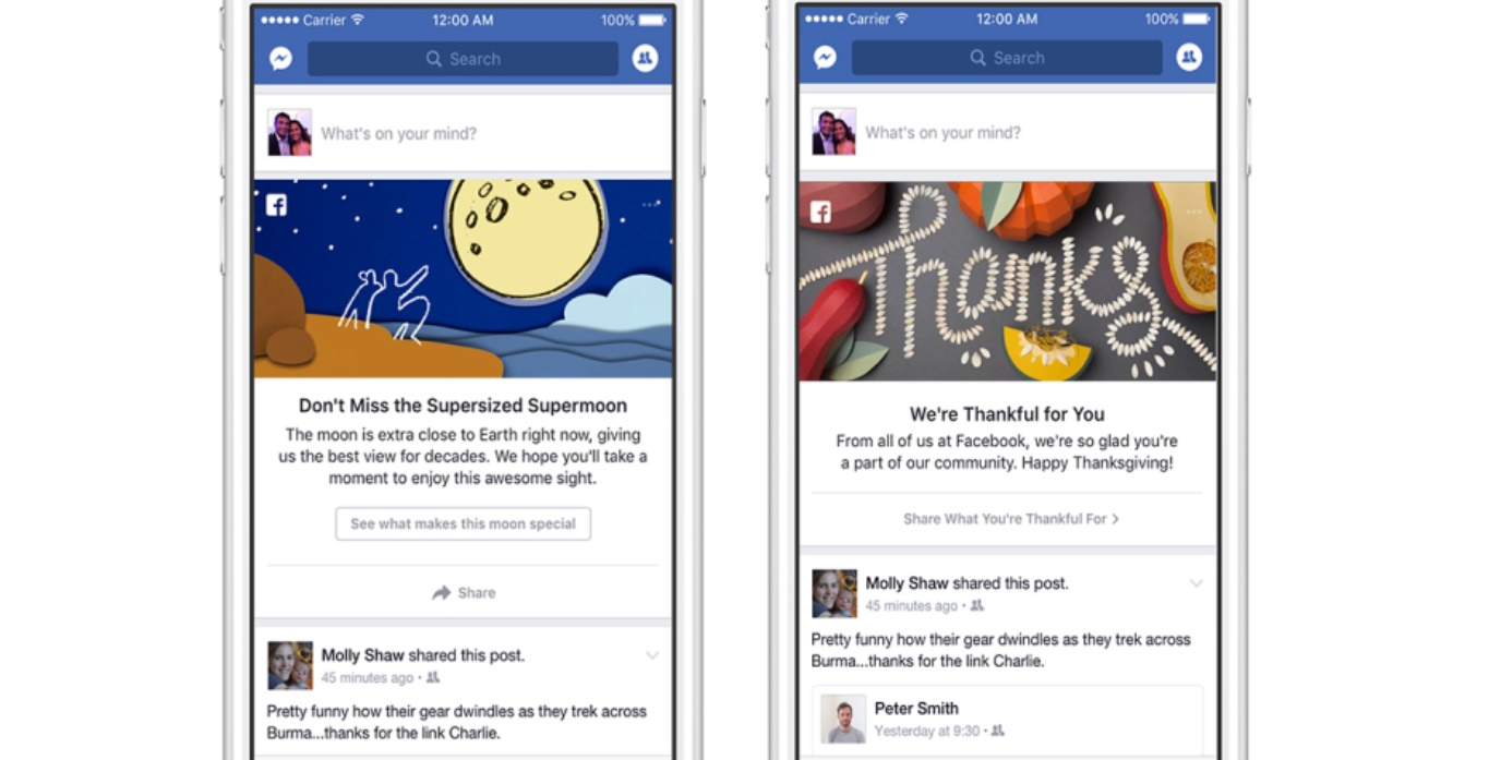 """Facebook debuts shareable """"moments"""" at the top of the News ..."""