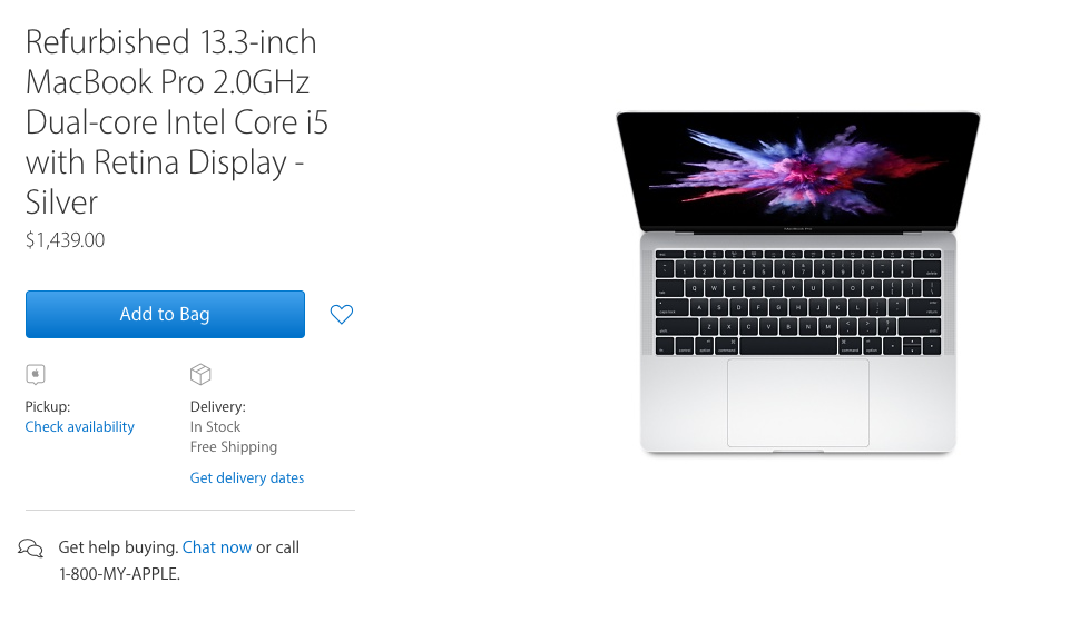 MacBook Pros without Touch Bar now in refurbished store