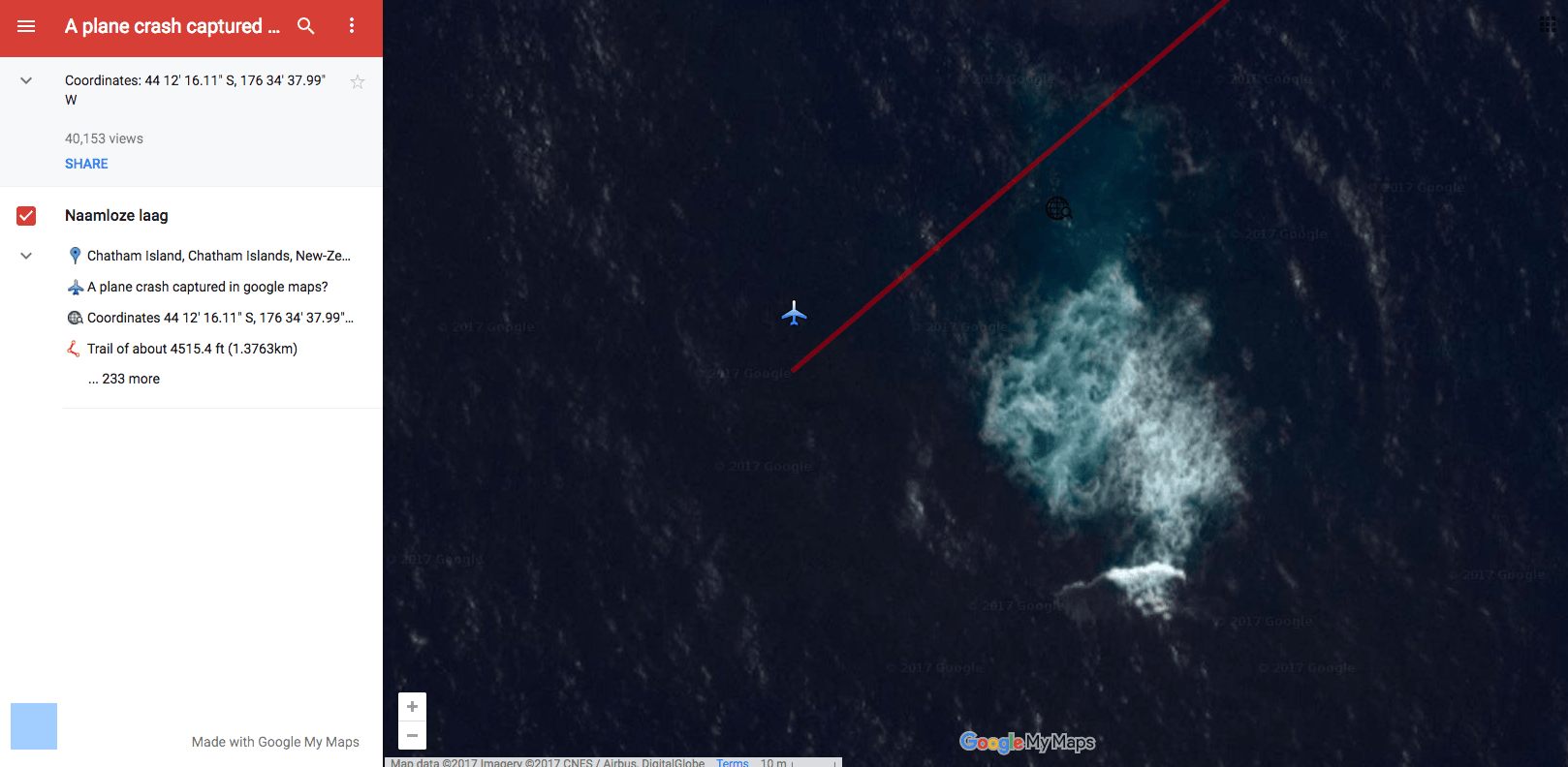 Google Maps accidentally caught a satellite image of an airplane mid